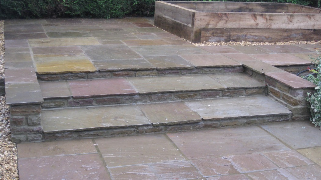 Indian sandstone landscape project in Northampton by Indigo Landscapers